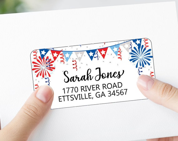 4th July Shipping Labels, Printable Address Labels Template - DIY Avery 4x2 Address Label - Red White Blue Editable Script Envelope Address