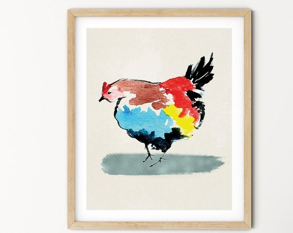 Rooster Watercolor Digital Print | Printable  Art | Farm Art Print | Farmyard Wall Art | DIY Wall Art | Farm Animal Art Print | Office Art