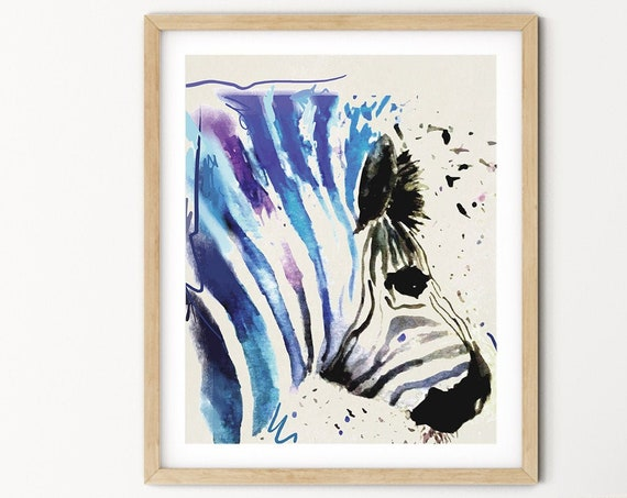 Zebra Watercolor Digital Print | Printable  Art | Africa Art Print | Wild Animal Wall Art | DIY Wall Art | Safari Art Print | Office Art