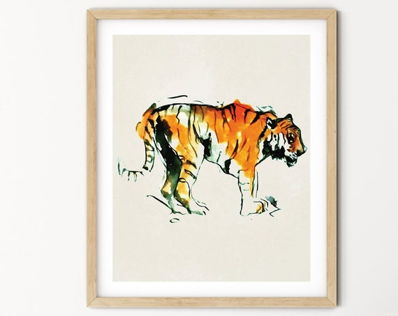 Tiger Watercolor Digital Print | Printable  Art | Africa Art Print | Wild Animal Wall Art | DIY Wall Art | Safari Art Print | Office Art