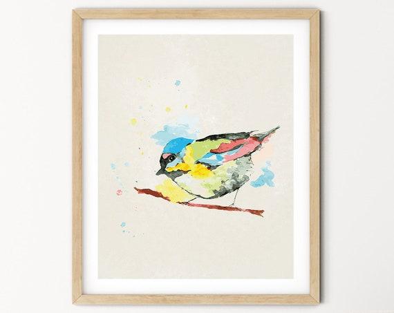 Bird Watercolor Digital Print | Printable  Art | Sparrow Art Print | Bird Wall Art | DIY Wall Art | Bright Bird Art Print | Office Art