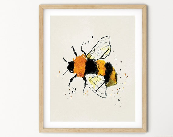 Bee Watercolor Digital Print | Printable  Art | Insect Art Print | Gold Black Wall Art | DIY Wall Art | Buzzy Bee Art Print | Office Art
