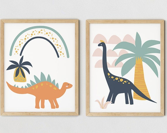 Modern Boys Dinosaur Art Print Set | Printable Nursery Art | Rainbow Navy Kids Room | Baby Room Wall | Boy Nursery Decor | Set 2 Prints
