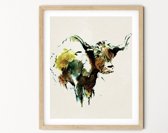 Buffalo Watercolor Digital Print | Printable  Art | Cow Art Print | Wild Animal Wall Art | DIY Wall Art | Nature Print | Office Art