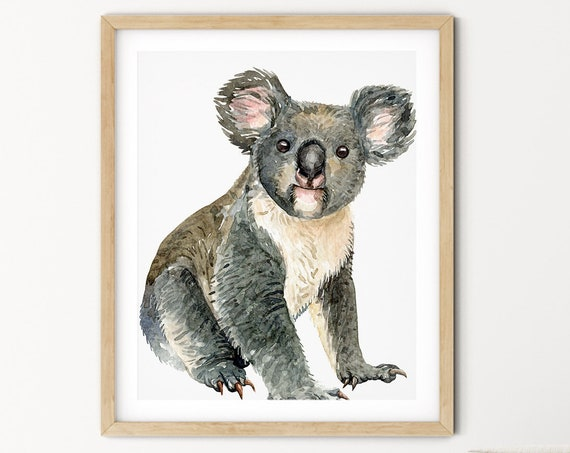 Koala Bear Art Digital Print | Printable Wildlife Art | Australian Animal Art Print | DIY Koala Wall Art | Grey Native Animal Print