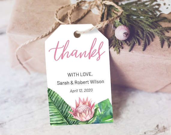 King Protea Thank You Tag, Wedding Favors, Tropical Thank You Tag, Instant Download, Party Thanks Tag, Thanks Label, Thank You Tag