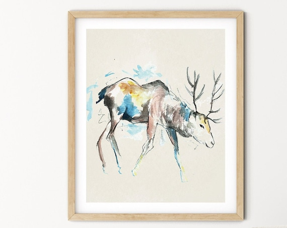 Deer Watercolor Digital Print | Printable  Art | Reindeer Art Print | Wild Animal Wall Art | DIY Wall Art | Nature Print | Office Art