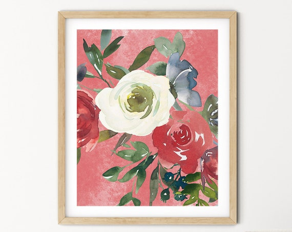 Pink Floral Greenery Art Digital Print | Printable Plant Art | Still Life Art Print | Red Rose Plant Wall Art | Big Flower Leaf Print