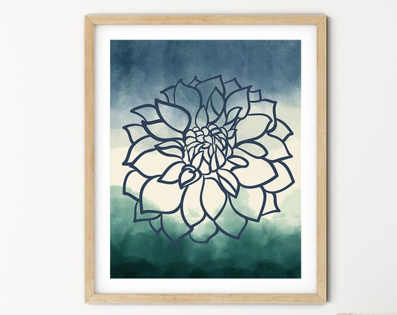 Blue Green Navy Dahlia Floral Greenery Art Digital Print | Printable Plant Art | Still Life Art Print |  Plant Wall Art | Big Flower Print