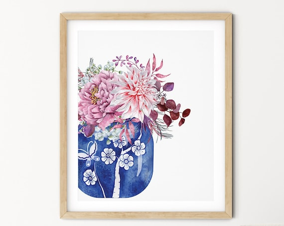 Blue Hamptons Vase Floral Art Digital Print | Printable Flowers Art | Still Life Art Print | Pink Botanical Wall Art | Blue China Print