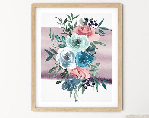 Mauve Blue Floral Greenery Art Digital Print | Printable Plant Art | Still Life Art Print | Bouquet Plant Wall Art | Big Flower Leaf Print