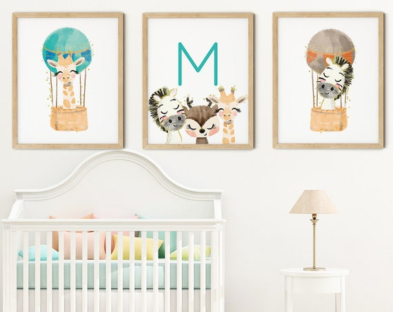 Baby Jungle Animals Art Print Set | Printable Nursery Art | Kids Room Name Sign | Zebra Giraffe Wall Art | Boy Nursery Decor | Set 3 Prints