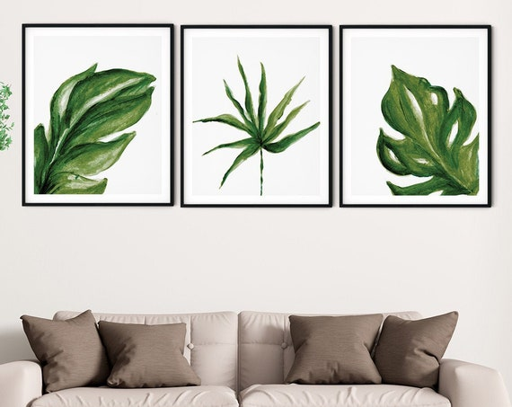 Tropical Green White Art Print Set | Printable Palm Monstera Art | Art Print | Botanical Wall Art | DIY Living Room Wall Art | Set 3 Prints