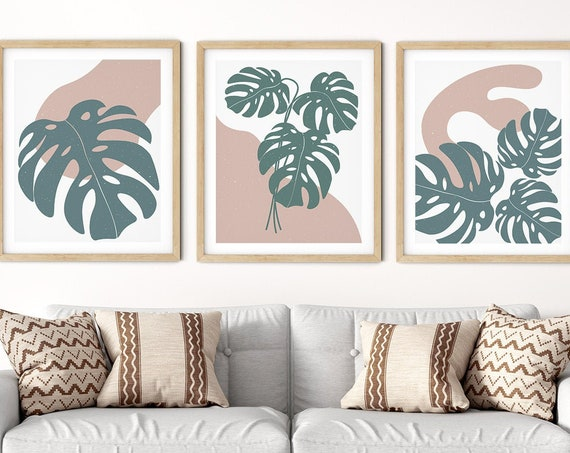 Modern Abstract Monstera Art Print Set | Tropical Leaf Art | Botanical Wall Art | DIY Living Room Wall Art | Set 3 Prints | Abstract Art Set