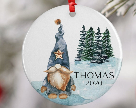 Personalized 2020 Blue Scandi Gnome Christmas Ceramic Round Decoration Ornament Keepsake, Gift Ornament,  Xmas Ornament Children, Snow Trees