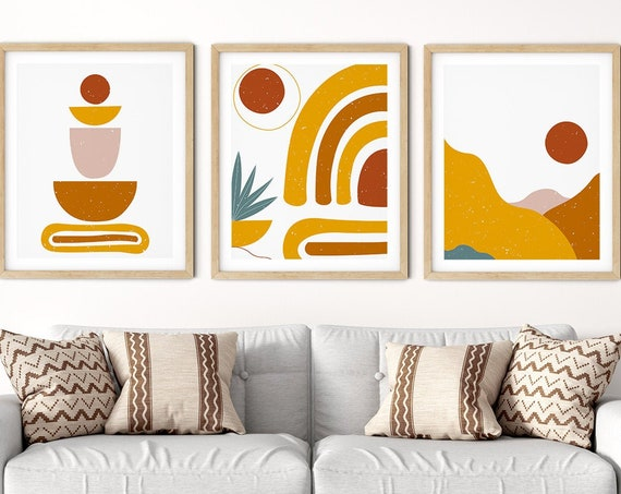 Modern Art Print Set | Mustard Shapes Art | Botanical Wall Art | DIY Living Room Wall Art | Set 3 Prints | Brown Pink Abstract Wall Art Set