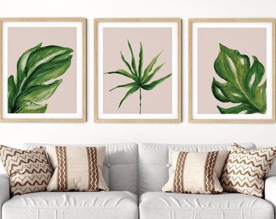 Tropical Blush Pink Art Print Set | Printable Palm Monstera Art | Art Print | Botanical Wall Art | DIY Living Room Wall Art | Set 3 Prints