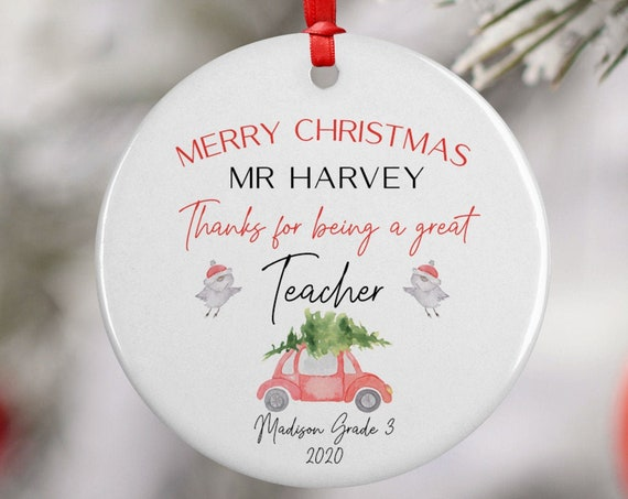 Personalized 2020 Merry Christmas Teacher Ceramic Decoration Ornament Keepsake, School Gift Ornament, Xmas Car Ornament for Class Teacher