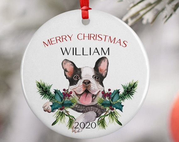 Personalized 2020 Merry Christmas French Bulldog Ceramic Decoration Ornament Keepsake, Gift Ornament, Xmas Ornament Pet, Puppy Best Friend