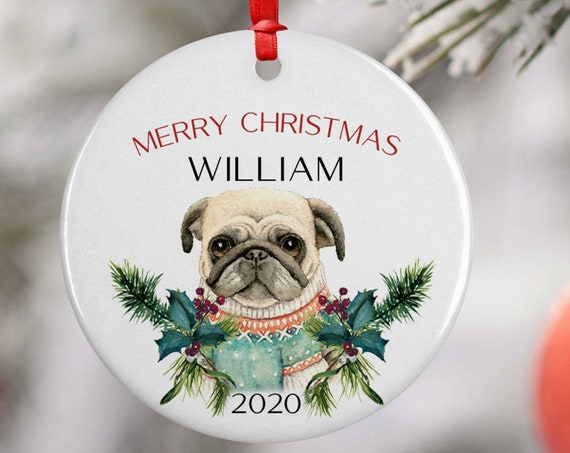 Personalized 2020 Merry Christmas Sweater Pug Dog Ceramic Decoration Ornament Keepsake, Gift Ornament, Xmas Ornament Pet, Puppy Best Friend