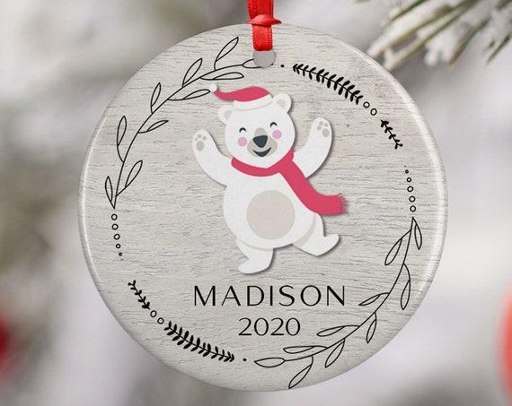 Personalized 2020 Christmas Polar Bear Ceramic Round Decoration Ornament Keepsake, Child Ornament, Santa Hat Floral Kids Xmas, Gift Ornament