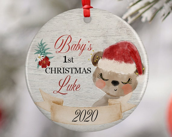 Personalized 2020 Babys First Christmas Bear Ceramic Round Decoration Ornament Keepsake, First Child Ornament, Santa Hat Floral Baby Xmas