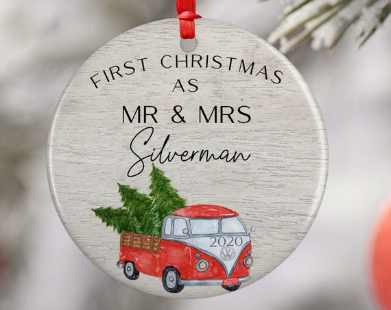 Personalized 2020 Christmas Kombi Van Mr Mrs Ceramic Round Decoration Ornament Keepsake, Gift Ornament,  Xmas Wreath, Red Xmas Tree Truck