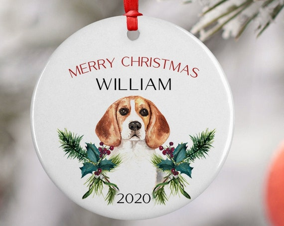 Personalized 2020 Merry Christmas Beagle Dog Ceramic Round Decoration Ornament Keepsake, Gift Ornament, Xmas Ornament Pet, Puppy Best Friend