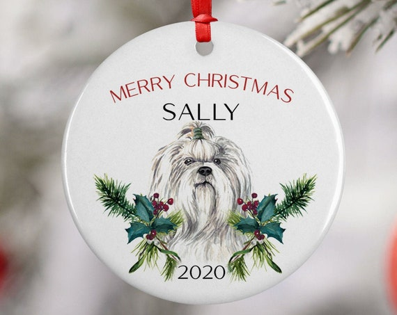 Personalized 2020 Merry Christmas Shih Tzu Ceramic Ornament Keepsake, Gift Ornament, Xmas Dog Ornament Pet, Puppy Best Friend, Dog Lover