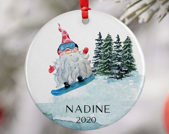 Personalized 2020 Snowboarding Gnome Christmas Ceramic Round Decoration Ornament Keepsake, Gift Ornament,  Xmas Ornament Children, Santa Hat