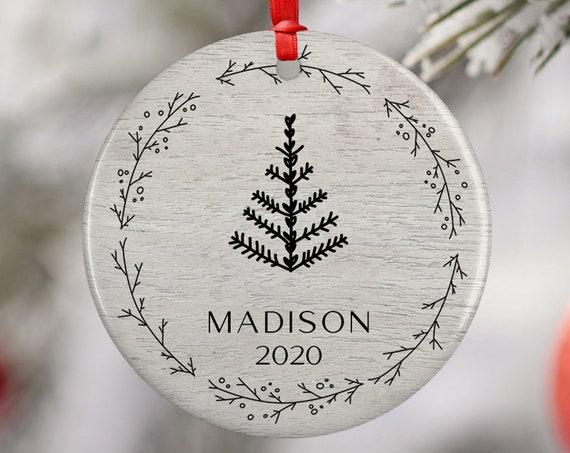 Personalized 2020 Christmas Whimsical Tree Ceramic Round Decoration Ornament Keepsake, Gift Ornament,  Xmas Wreath, Minimal Ornament, Boho