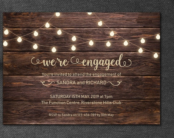Rustic Wood Engagement Invitation •  We're engaged Printable invite • Personalized invitation Customize • Country Invitation • Barn Engage
