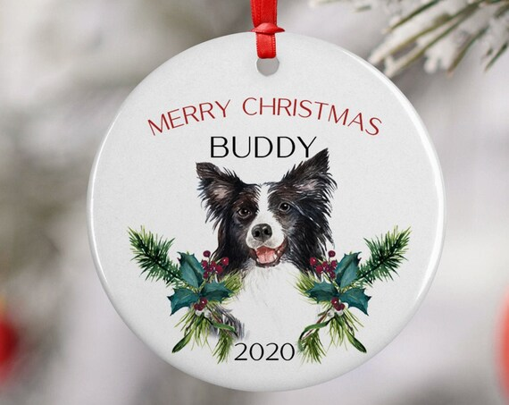 Personalized 2020 Merry Christmas Border Collie Ceramic Ornament Keepsake, Gift Ornament, Xmas Dog Pet, Puppy Best Friend, Dog Lover