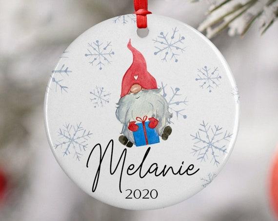 Personalized 2020 Snowflake Gnome Christmas Ceramic Round Decoration Ornament Keepsake, Gift Ornament,  Xmas Ornament Children, Santa Hat