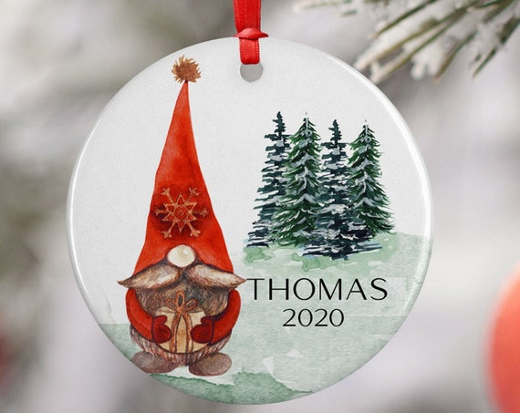 Personalized 2020 Red Scandi Gnome Christmas Ceramic Round Decoration Ornament Keepsake, Gift Ornament, Xmas Ornament Children, Snow Trees