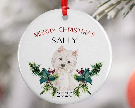 Personalized 2020 Merry Christmas West Highland Terrier Ceramic Ornament Keepsake, Gift Ornament, Xmas Ornament Pet,Westie Puppy Best Friend