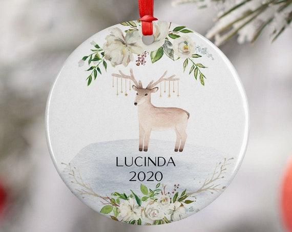 Personalized 2020 Reindeer Roses Christmas Ceramic Round Decoration Ornament Keepsake, Gift Ornament, Xmas Ornament, White Floral Boho