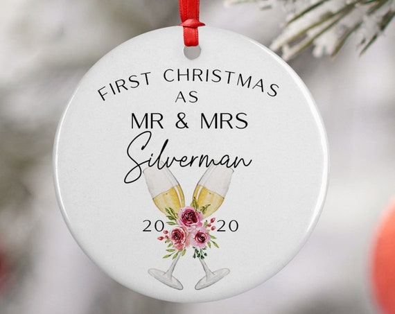 Personalized 2020 Christmas Champagne Mr Mrs Ceramic Round Decoration Ornament Keepsake, Gift Ornament,  Xmas Wreath, Bubbles Floral Gift
