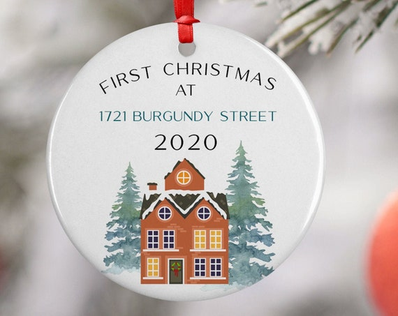 Personalized 2020 First Christmas At Address Ceramic Round Decoration Ornament Keepsake, Gift Ornament,  Xmas Ornament for New House, Trees