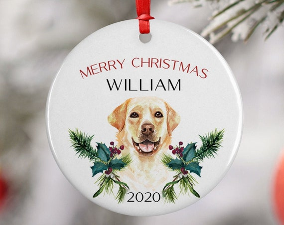 Personalized 2020 Merry Christmas Labrador Dog Ceramic Decoration Ornament Keepsake, Gift Ornament, Xmas Ornament Pet, Puppy Best Friend