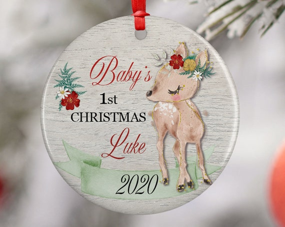Personalized 2020 Babys First Christmas Deer Ceramic Round Decoration Ornament Keepsake, First Child Ornament, Reindeer Floral Baby Xmas