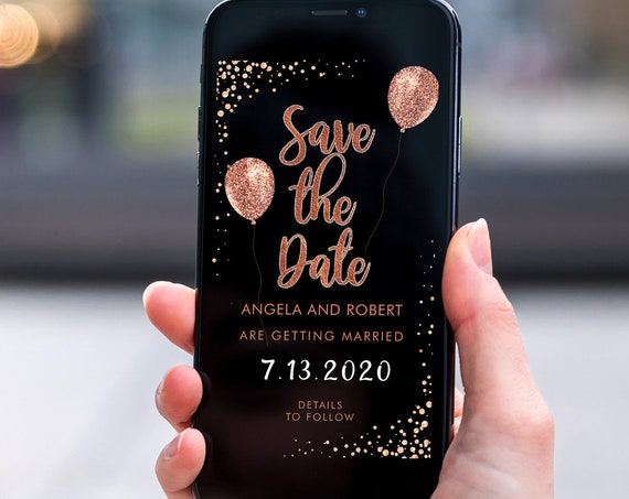 Rosegold Glitter Balloons Save the Date, Electronic Invite, Copper Blush Wedding, Smart phone SMS Digital Editable template, Eco Friendly