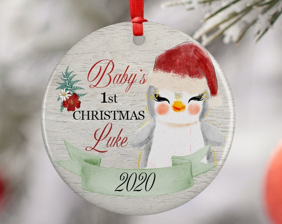 Personalized 2020 Babys First Christmas Penguin Ceramic Round Decoration Ornament Keepsake, First Child Ornament, Animal Floral Baby Xmas