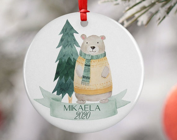 Personalized 2020 Merry Christmas Tree Bear Ceramic Round Decoration Ornament Keepsake, Gift Ornament, Xmas Ornament Children, Winter Bear