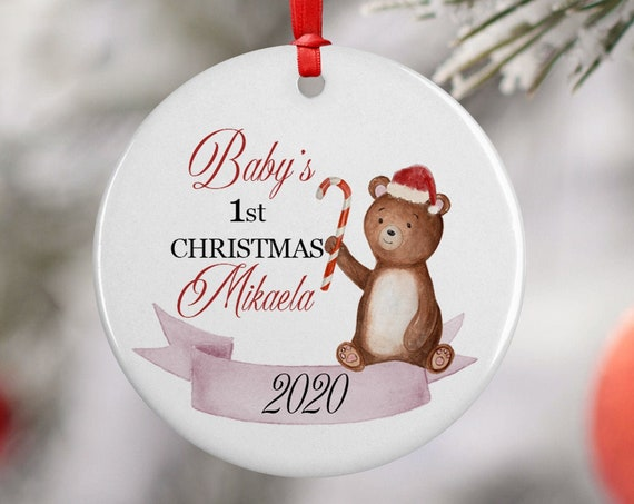 Personalized 2020 Babys First Christmas Teddy Bear Ceramic Round Decoration Ornament Keepsake, First Child Ornament, Candy Cane Ornament