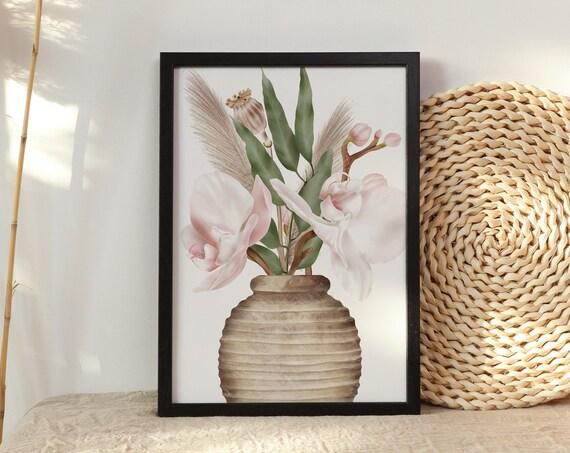Pink Orchid Vase Digital Print | Printable Natural Art | Tropical Print | Floral Wall Art | DIY Wall Art | Blush Pink Print | Bedroom Art