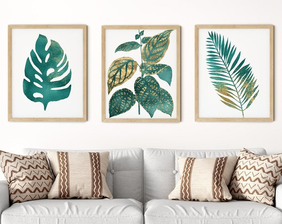 Tropical Teal Gold Art Print Set | Printable Palm Monstera Art | Art Print | Botanical Wall Art | DIY Living Room Wall Art | Set 3 Prints
