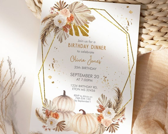 Fall White Pumpkins Pampas Grass Birthday Invitation,  Autumn Palm Leaves Invitation, Printable Dinner Party, Editable Template for Women
