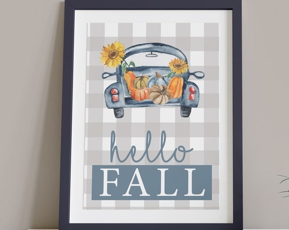 Country Hello Fall Pumpkin Digital Print | Printable Autumn Art | Fall Print | DIY Plaid Wall Art | Farmhouse Style Art | Instant Download