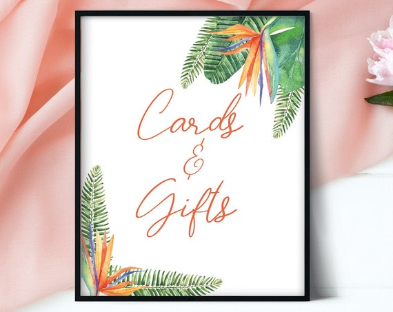 Bird of Paradise Cards And Gifts, Wedding Sign, Gifts Cards, Wedding Cards, Wedding Decor, Table Sign Cards, Reception Sign, Wedding Signs